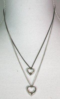 halskæde med dobbelt hjerte sølv